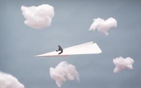 Обои мечта, полёт, самолёт, небо, человек