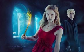 Картинка магия, Гарри Поттер, палочка, Гермиона Грейнджер, Драко Малфой