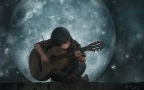 Обои луна, настроение, The Song Of The Moon, парень, романтика, lee kent, крыша