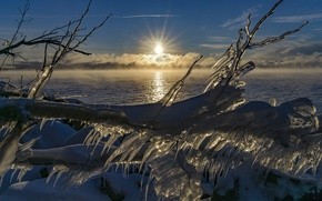 Картинка зима, небо, солнце, льдинки