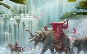 Картинка животные, водопад, джунгли, фламинго, palace march