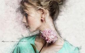 Картинка девушка, арт, блондинка, профиль, пион