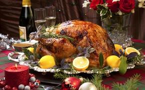 Обои шампанское, Roast, Новый год, New Year, свеча, Christmas, елка, champagne, курица, игрушки, candle, Chicken, лимон
