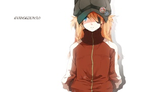 Картинка шапка, куртка, белый фон, рыжая, Neon Genesis Evangelion, Asuka Langley Soryu, значки, повязка на глаз