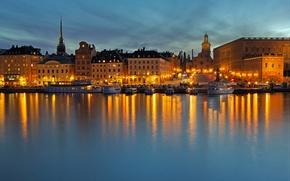 Картинка море, ночь, огни, дома, Стокгольм, Швеция, набережная