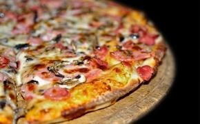 Обои блюдо, колбаса, пицца, мясо, ветчина