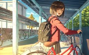 Картинка велосипед, девочка, стоянка