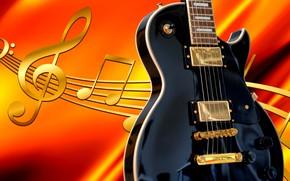 Обои гитара, ноты, рендер