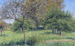 Картинка деревья, пейзаж, природа, картина, сад, Камиль Писсарро, Орех Утром в Эраньи