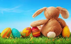 Картинка праздник, игрушка, яйца, кролик, пасха, травка, зайка