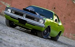 Картинка машина, мощь, диски, Green, передок, Tuning, Usa, Muscle Car, Plymouth Duster