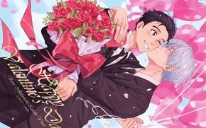 Картинка цветы, аниме, арт, парни, Yuri on Ice, Виктор Никифоров, Юри Катсуки