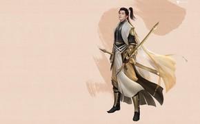 Картинка оружие, игра, воин, фэнтези, арт, дизайн костюма, 3Q STUDIO, 藏剑林更新
