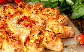 Картинка пирог, помидор, базилик