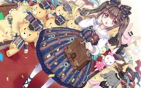 Картинка девочка, шляпки, блузка, парад, портфель, бант, флажки, пышная юбка, плюшевые мишки, плюшевые кролики