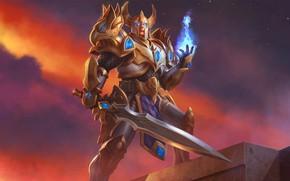 Картинка магия, игра, меч, доспехи, воин, шлем, art, Juggernaut Wars, Страж Лангерд