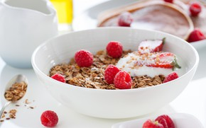 Картинка малина, завтрак, тарелка, овсянка