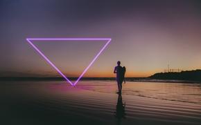 Картинка Пляж, Неон, Человек, Треугольник, Фиолетовый, Свечение