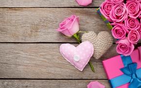 Картинка heart, love, valentine`s day, roses, sweet, pink, gift, romantic, розы, petals