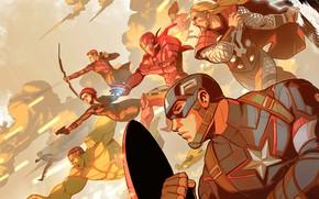 Картинка Рисунок, Герои, Костюм, Лук, Vision, Heroes, Халк, Superheroes, Hulk, Железный человек, Щит, Iron Man, Marvel, …