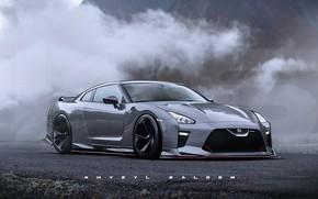 Картинка асфальт, горы, туман, автомобиль, GT-R36