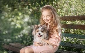 Обои скамейка, смех, собака, девочка