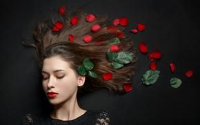 Картинка листья, девушка, волосы, лепески, Павел Черепко, Черепко Павел
