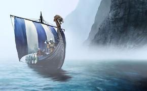 Обои sea, viking, shield, warrior, montain, bolt, Expeditions Viking, weaponshield