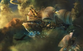 Картинка fantasy, sky, clouds, artwork, concept art, fantasy art, Steampunk, sails, cannons, airships, flying boats