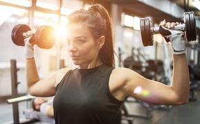 Картинка pose, back, female, workout, fitness, gym, brunette., shoulders, exercises, Dumbells