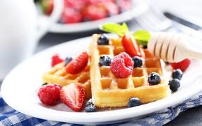 Картинка ягоды, малина, завтрак, черника, клубника, вафли