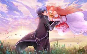 Картинка романтика, аниме, арт, Мастера меча онлайн, Sword Art Online, Асуна, Кирито
