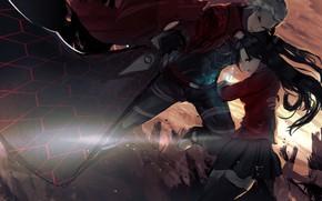 Картинка оружие, Fate / Stay Night, девушка, Рин, парнеь, арчер, Судьба ночь схватки