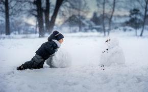 Картинка радость, мальчик, снеговик