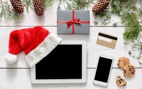 Картинка украшения, Новый Год, Рождество, подарки, happy, Christmas, планшет, wood, New Year, Merry Christmas, Xmas, gift, …