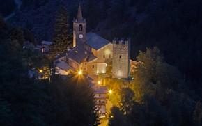 Картинка горы, ночь, огни, Италия, церковь, Валле-д'Аоста, Шампорше