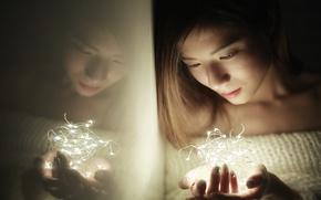 Картинка девушка, свет, лицо