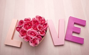 Обои День влюбленных, слово, розы, любовь, день святого Валентина, сердце