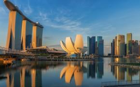 Картинка lights, небоскребы, Сингапур, архитектура, мегаполис, blue, night, fountains