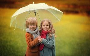 Картинка осень, дети, зонт, мальчик, девочка