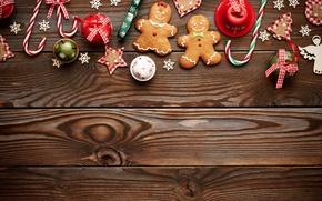 Картинка Новый Год, Рождество, christmas, balls, wood, merry christmas, gift, cookies, decoration, xmas, gingerbread