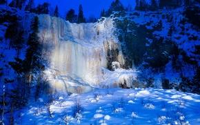 Обои Короуома, Финляндия, водопад, зима, лед, снег