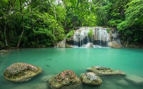 Картинка лес, пейзаж, река, скалы, водопад, summer, Тайланд, forest, тропический, river, landscape, beautiful, waterfall, tropical