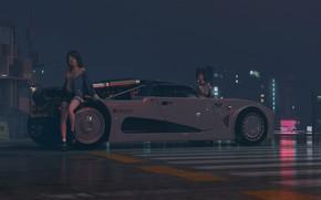 Картинка дорога, машина, ночь, девушки, автомобиль