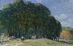 Картинка деревья, пейзаж, картина, Alfred Sisley, Альфред Сислей, Всадник на Краю Леса