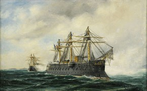 Обои Marint motiv, броненосец, Море, Herman Gustav Sillen, флаг франции