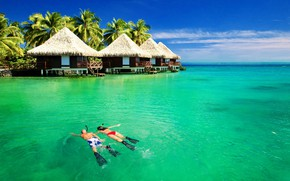 Картинка море, тропики, океан, Бора-Бора, курорт, бунгало, Французская Полинезия