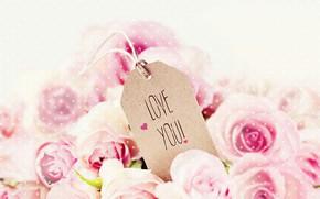 Обои праздник, надпись, розы, pink, День Святого Валентина, roses, Valentines Day, Love You