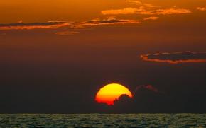 Картинка twilight, sea, Hawaii, sunset, seascape, clouds, island, sun, dusk, bokeh, horizon