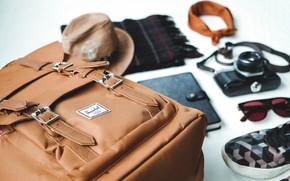 Обои backpack, glasses, кеды, рюкзак, notebook, камера, очки, scarf, sneakers, ежедневник, фотопарат, кника, diary, тетрадь, шарф, ...